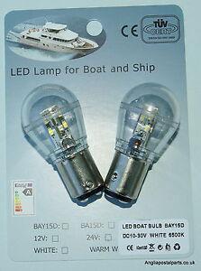 2-X-12-24-volt-LED-Bulb-Lamp-Marine-Ships-Boat-Navigation-BAY15D-Bayonet