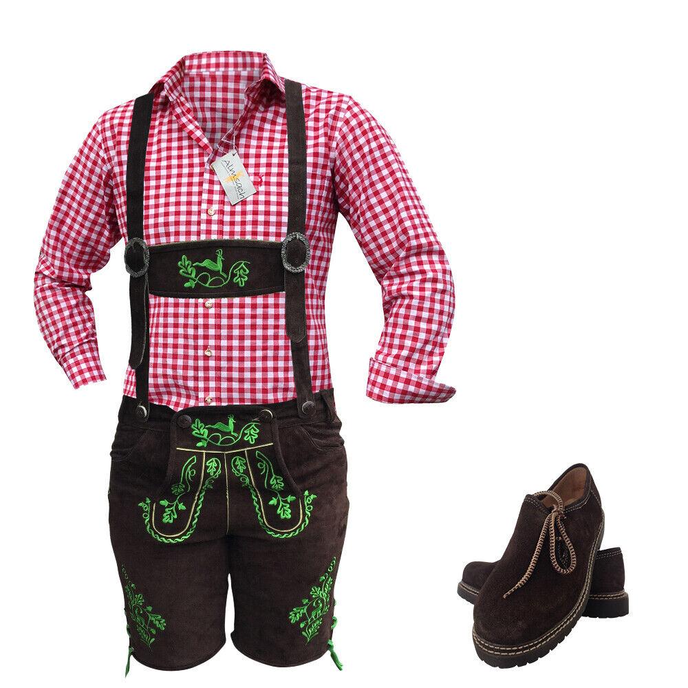 Herren Trachtenhose Lederhose Trachtenset Hosen Hemden Braun Leder Leder Leder Rot Kariert | Günstige Bestellung  | Internationale Wahl  | Gute Qualität  | Für Ihre Wahl  | Schönes Aussehen  c40ce1
