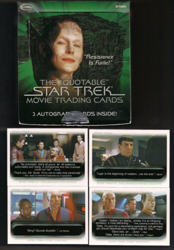 STAR TREK QUOTABLE MOVIE TOS TNG COMPLETE 90 CARD BASE SET W WRAP + DISPLAY BOX