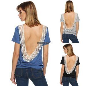 Women-o-neck-Short-Sleeve-Backless-splicing-loose-tee-Blouse-Tops-t-shirt-S-2XL