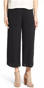 6dc96ca4050 XL NWT EILEEN FISHER BLACK THE ICONS SILK GEORGETTE CREPE WIDE LEG ...