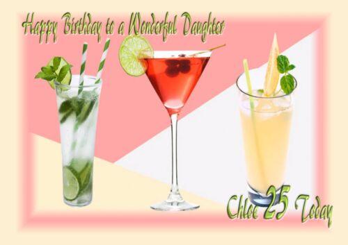 Personalised birthday card cocktails daughter grandaughter sister