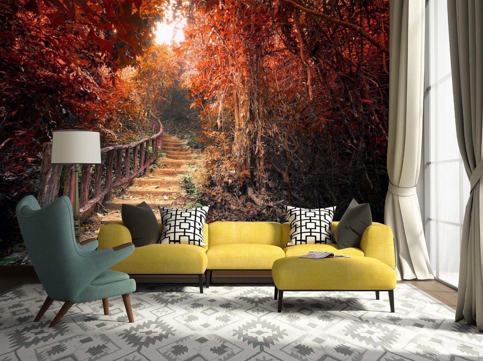 3D Herbstwald Leiter 8899 Tapete Wandgemälde Tapeten Bild Familie DE Lemon