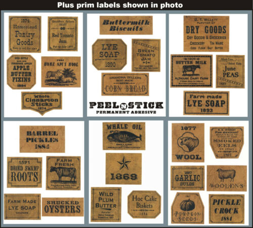 Homestead Pantry Goods Prim Labels Set 26 Jelly Cupboard Labels