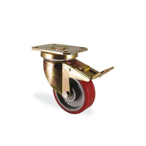 Roulette pivotante à frein polyuréthane rouge forte charge diamètre 200mm cha...