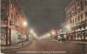 El-Paso-TEXAS-San-Francisco-Street-Night-View-1918-old-cars