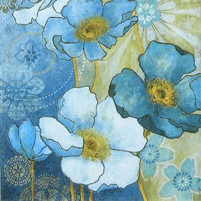4x Paper Napkins for Decoupage Decopatch Vintage Harmony Blue