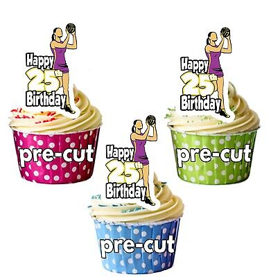 Netball Player Party Food Cupcake Picks Stick Decorations Toppers Birthday Event