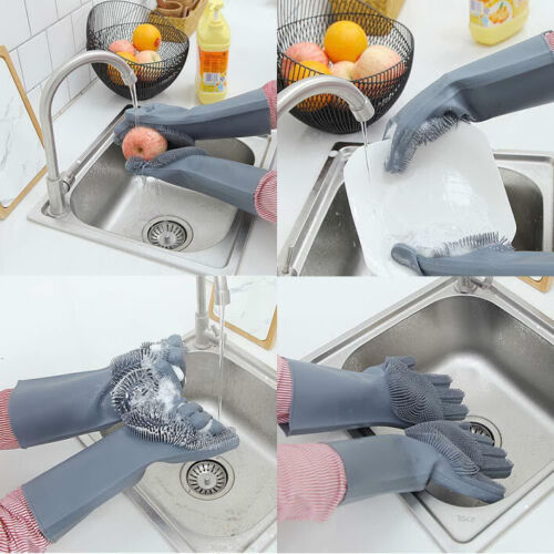 Light Blue Silicon Magic Scrubber Glove 100/% Food Grade Cleaning Dish Washing