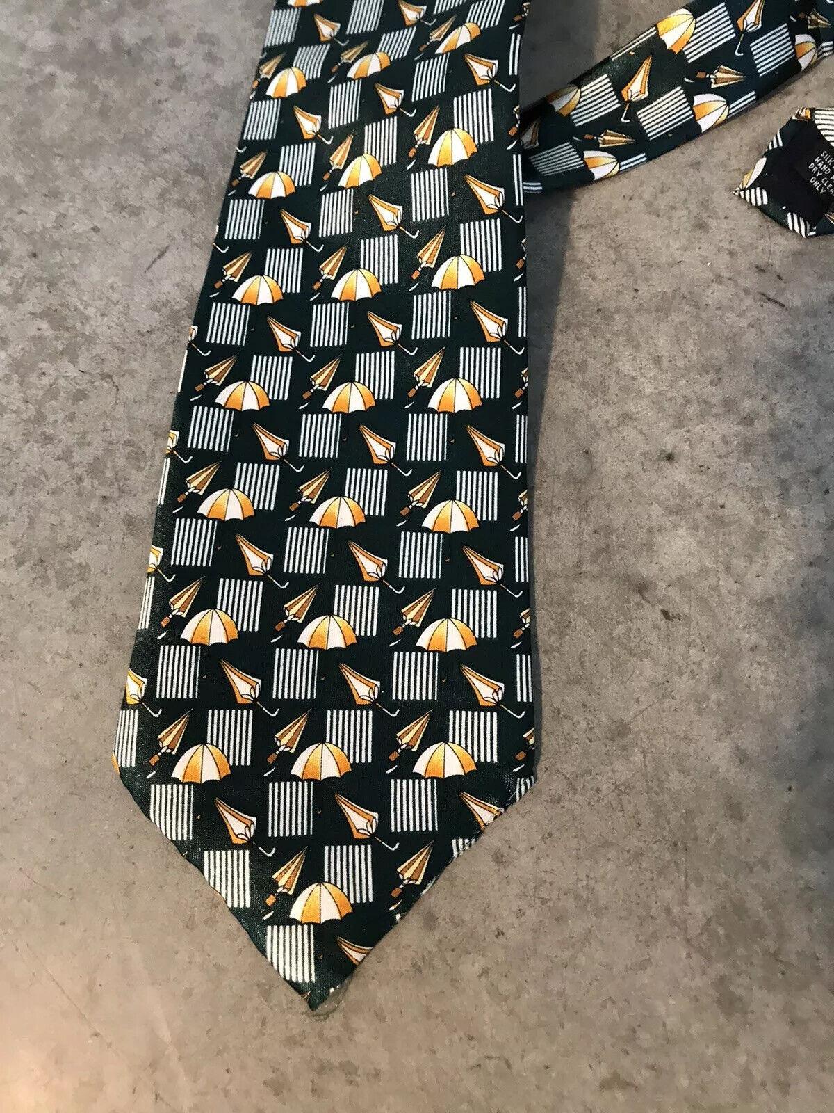 100% Silk Green Umbrella Umbrellas dingho Handmade Mens Tie