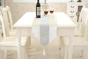 Ivory Table Runner Cushion Placemat Set Chenille Edge Wedding Venue