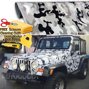 Snow Camo Camouflage Vinyl Film Wrap Decal Air Bubble Free Black White Gray