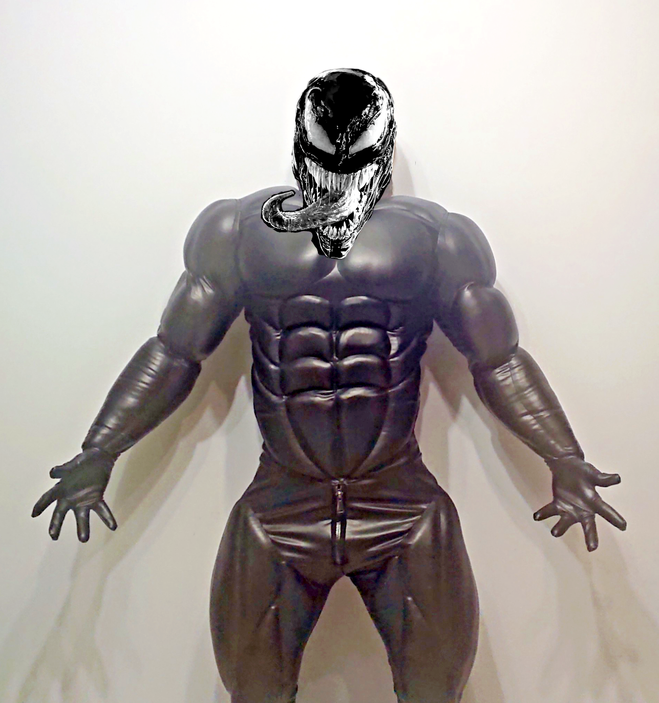 fetish muscle costume, venom suit, leather faux, anime hero cosplay