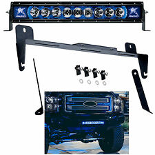 "Rigid Radiance Ford F250 F350 20"" LED Light Bar & Bumper Mount BLUE Back Light"