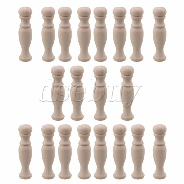 20x Beech Unfinished Wood Craft Spindles for Furniture Decoration H-83