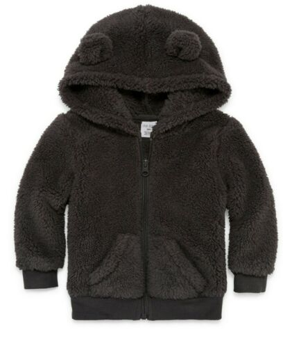 Okie Dokie Toddler Boy Zip-Up Warm Soft Fleece Hoodie 3D Ears Jacket 12 Months