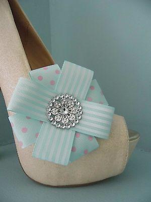 Verde Y Rosa Roseta Arco Clips Para Zapatos Con Estilo Diamante Centro