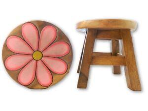Sensational Details About Childs Childrens Wooden Stool Pink Daisy Step Stool Short Links Chair Design For Home Short Linksinfo