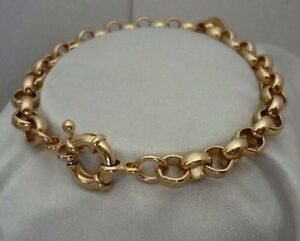 "9K 9ct Yellow ""Gold Filled"" Men Ladies Belcher Chain Bangle Bracelet. 8.7"",797"