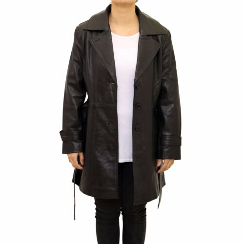 Ladies Black Classic 3//4 Length Leather Fitted Trench Coat With Belt Tie /& Vent