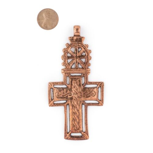 Bahir Dar Ethiopian Copper Cross Pendant 100x50mm African Large Hole Handmade