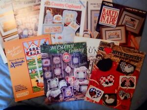 Lof 9 cross stitch pattern books country country farm for Country living magazine cross stitch