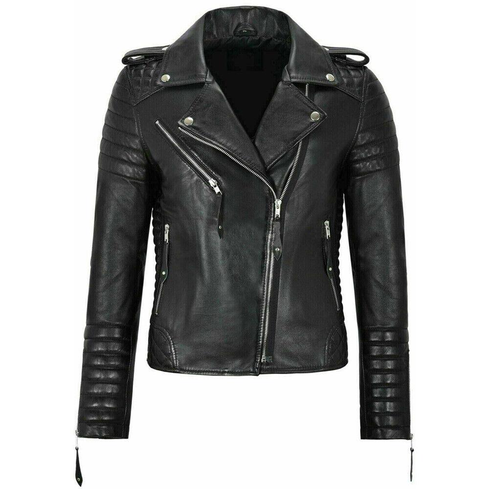 Classic Biker Fashion Women's Black New Jacket Real Leather Style Ladies Jacket