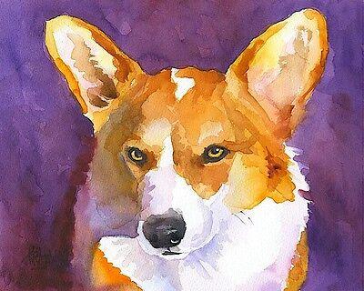 Corgi Dog 8x10 Art PRINT Signed by Artist Ron Krajewski Painting Welsh Pembroke