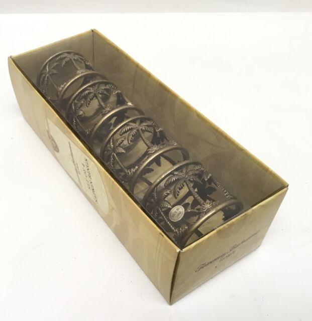 Set of 4 Mud Pie Home Metal Oak Leaf Bronze Acorn Dimensional Napkin Rings