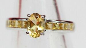 Edler-1-2-Carat-Citrin-Ring-925-Silber-Topas-Fingerring-Groesse-6-7-8-9