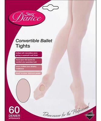 Girls convertible Pink ballet tights Socks Silky Dance Tights 7-13 Yrs
