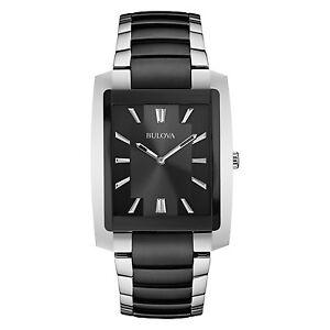 Bulova-Classic-Men-039-s-98A117-Quartz-Black-Dial-Two-Tone-Bracelet-39mm-Watch