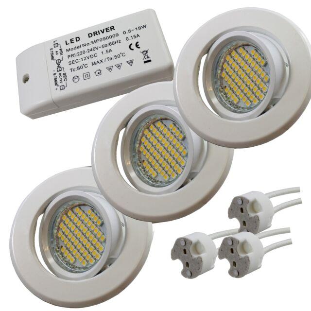 3x LED MR16 Einbaustrahler Chrom o. Weiß Komplett Set Spot Trafo Fassung  *H04