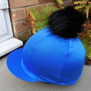 f0abf8c94 Details about Lycra Riding Hat Silk skull cap cover ROYAL BLUE Large Faux  Fur Pompom BLACK