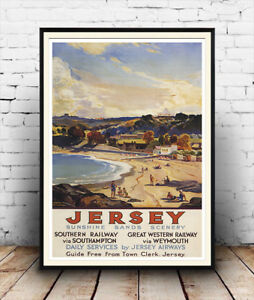 Old Travel Poster reproduction Jersey