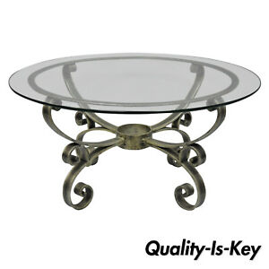 Details About Vintage Scrolling Iron Round Gl Top Hollywood Regency Silver Coffee Table