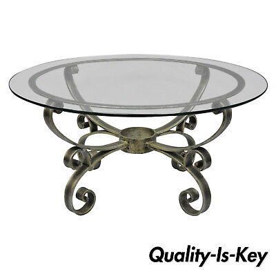 Hollywood Regency Silver Coffee Table, Round Metal Glass Top Coffee Table