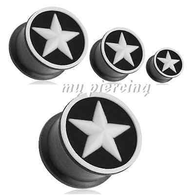Par 2g To 1.6cm White Star En Negro Flexible Silicona Doble Borde Tapones Oídos Strong Packing Jewelry & Watches