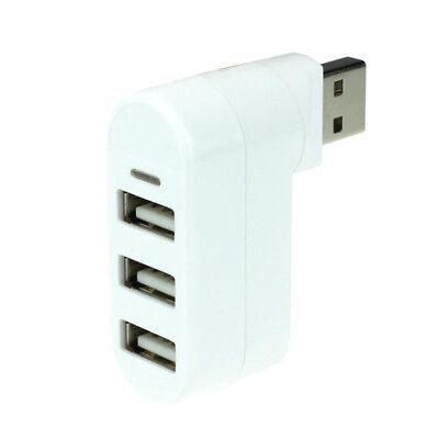 3 Ports USB 2.0 HUB Rotating Splitter Adapter Hub For PC Notebook Laptop Mac JB