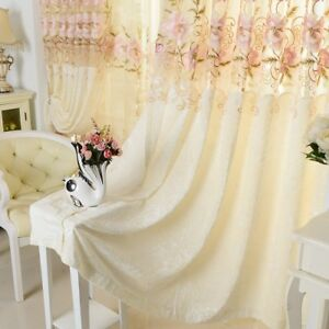 Flower-Embroidered-Sheer-Hollowed-Velvet-Cloth-Curtains-63-034-Window-Drape-1-Piece