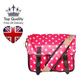 Oilcloth-Cross-Body-Polka-Dots-Patterned-School-Satchel-Saddle-Bag-Shoulder-UK