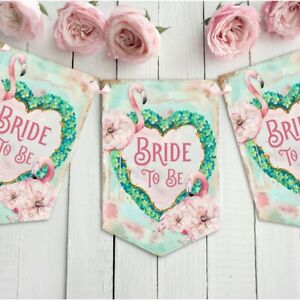 Flamingo-Bride-to-Be-Bunting-Banner-Garland-Hen-Party-Decoration-Pink-heart