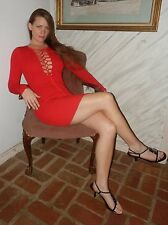 Hot Miami Styles HMS Red Lace Up Long Sleeve Stretch Bodycon Mini Dress M 6 - 8