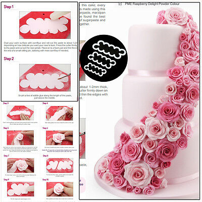 3Pcs Rose Flowers Cookie Pastry Biscuit Cutter Fondant Cake Decorating Mold Tool