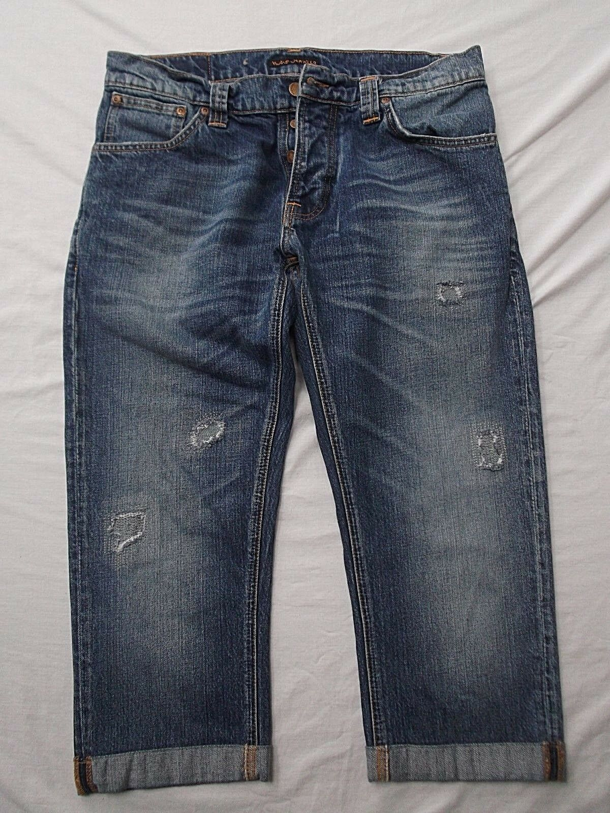 Nudie Grim Tim mended distress denim jeans 34x22 cut off knee shorts button fly