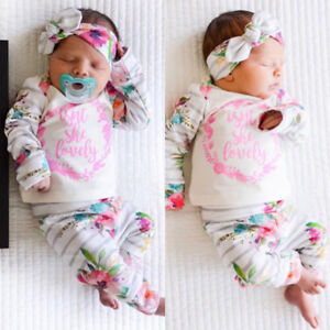 95876945dba46 3PCs/Set Newborn Baby Florals Tops Shirt + Infant Pants + Girls ...