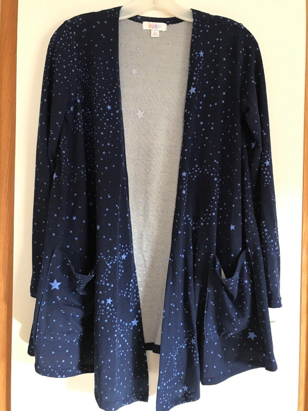 NWT - S LuLaRoe Caroline Cardigan-Happy Hearts Club bluee Stars-Constellations