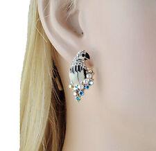 Parrot Enamel Faux Pearl White Austrian Crystal Rhinestone Stud Earrings E158w