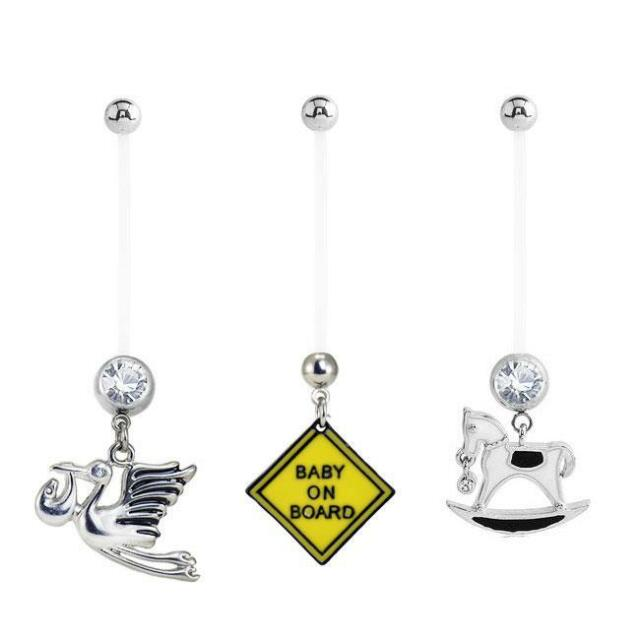 Lot 3 Pack Maternity Navel Ring Belly Ring Stork Baby On Board Rocking Horse 14g