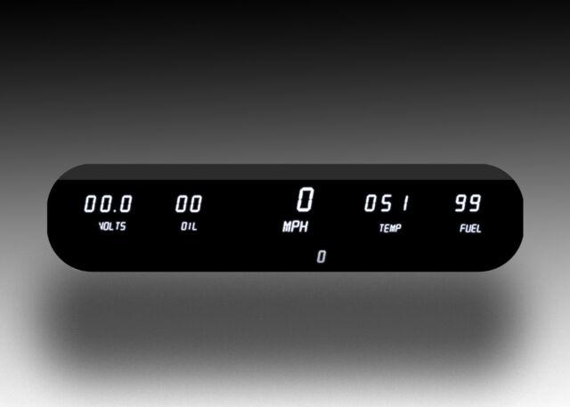 Universal 5 Gauge White LED Digital Dash Panel Kit Speedo Volt Fuel Oil Temp